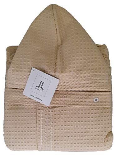 Accappatoio Nido d'Ape 100% Cotone con Cappuccio E Tasche Laterali Lancetti Home (Sabbia, L)
