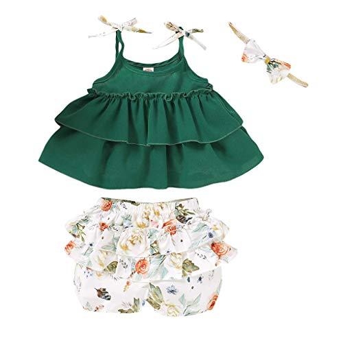 Allence 3PCS Babykleidung Set Kleinkind Baby Mädchen Kleidung Outfits Set Sling Crop Tops Blumendruck Shorts