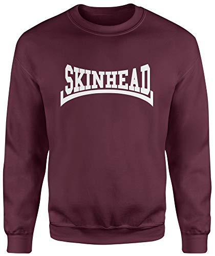 LaMAGLIERIA Unisex-Sweatshirt Skinhead White Print - Set-In Sweatshirt, L, Burgundy
