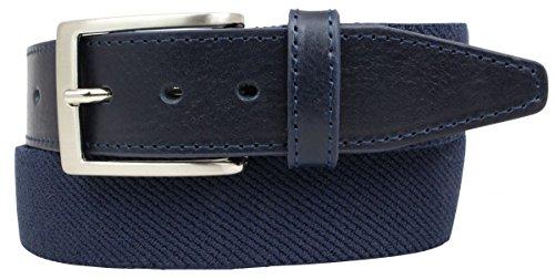 Hochwertiger Stretch-Gürtel mit echtem Leder 3,5cm | Elastischer Gürtel für Damen Herren 35mm | Ledergürtel | Marine 80cm