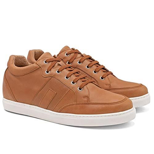 Herrskor med osynliga skoinlägg för extra längd. Bli 6 cm längre. Modell Ibiza C brun 42
