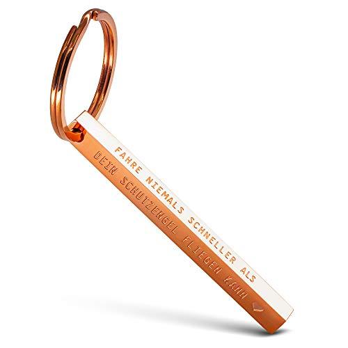 FABACH Cuboid Schlüsselanhänger Fahre nie schneller als Dein Schutzengel fliegen kann - Quader Auto Schlüsselanhänger Fahr vorsichtig aus Edelstahl - Stäbchen Anhänger mit Gravur Schutzengel