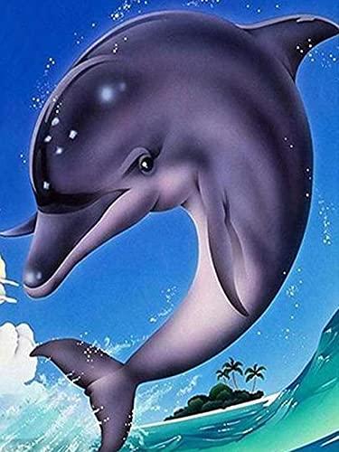 5D DIY diamante pintura animal diamante bordado delfín diamantes de imitación mosaico artesanía Kit diamante pintura A4 50x70cm