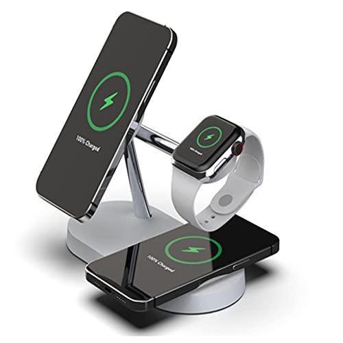 Cargador Inalámbrico 5 En 1 Estación De Carga, Soporte De Cargador Rápido Certificado Qi para Apple Watch 6 SE 5 4 3 2, para AirPods Pro 2, Compatible para iPhone 12 12 Pro MAX 11 11 Pro MAX SE
