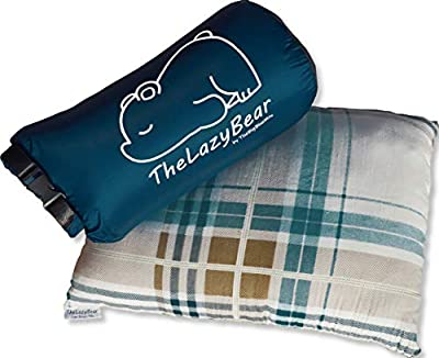 The Big Blue Mtn Compressible Camping Pillow for Lightweight Outdoor Travel Sleep System with Nylon Compact Pouch Bag (White)