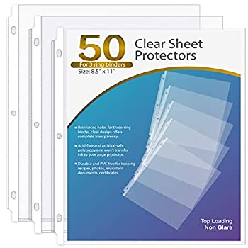 KTRIO Sheet Protector 8.5 x 11 Inches Non-Glare Clear Page Protectors Plastic Sleeves for Binders Paper Protector for 3 Ring Binder Letter Size Top Loading 50 Pack