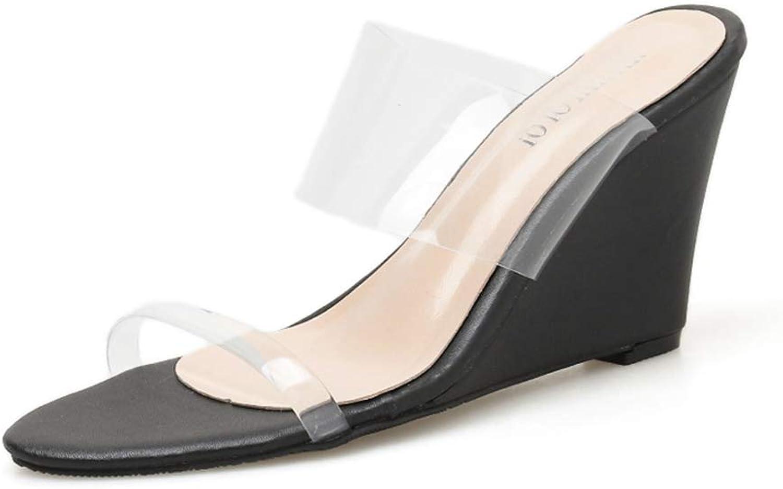 Zarbrina Womens Wedges Sandals Transparent shoes PVC Mules Straps Slip on Slides Summer Open Toe Comfortable Footwears