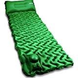 POPCHOSE Camping Sleeping Pad with Air Pillow Compact Ultralight Inflatable Camping Mat Built in Pump, Extra Thickness Durable Waterproof Air Tent Mat for Backpacking, Hiking, Road Trip (Green)