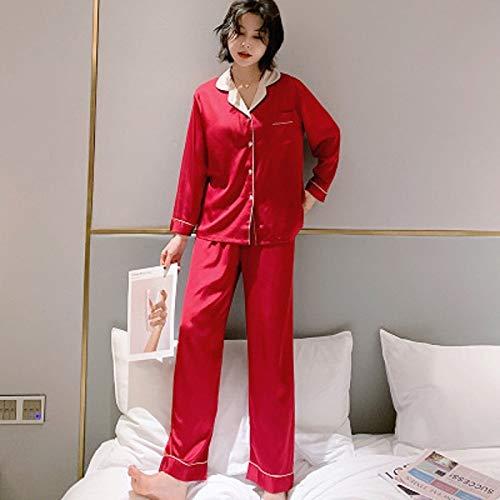 FDJIAJU Ropa De Dormir para Mujeres,Primavera Otoño Manga Larga Pijama Señoras Satinado...