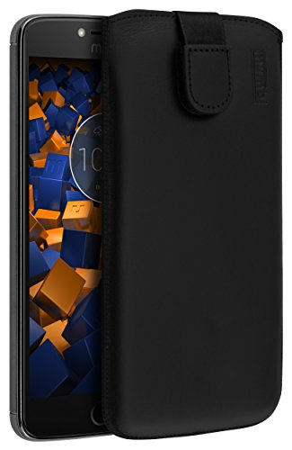 mumbi Echt Ledertasche kompatibel mit Lenovo Moto E4 Plus Hülle Leder Tasche Case Wallet, schwarz