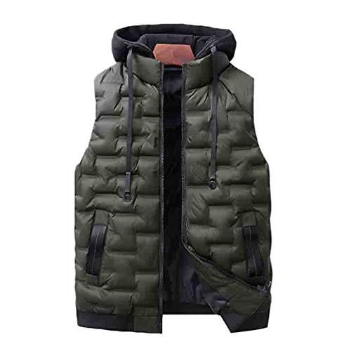 WanYangg Herren Freizeit Weste Bodywarmer Steppweste Bekleidung Outdoor Westen Zipped Pockets Casual Jacket Daunenweste mit Kapuze Gilet Steppjacke Armellos 3# Armee-Grün 2XL
