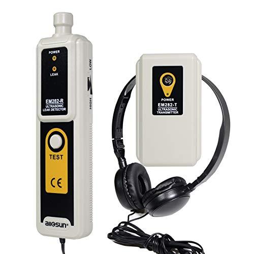 ALLOSUN Gas Leak Detector Ultrasonic Leak Tester Gas Sniffer Transmitter with Headphone, White (EM282)