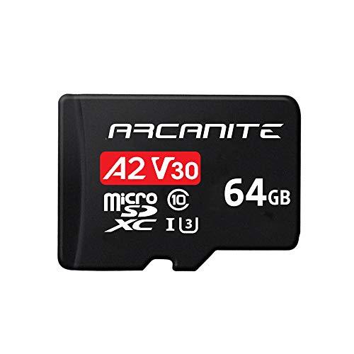 DJI Osmo Pocket, 3-Achsen Gimbal Stabilisator + ARCANITE 64 GB microSDXC-Speicherkarte mit Adapter, A2, UHS-I U3, V30, 4K, C10, microSD, Lesegeschwindigkeiten von bis zu 95 MB/s.