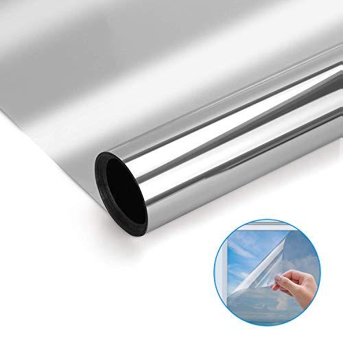 Modrad Spiegelfolie Selbstklebend Sichtschutz Folie Reflektierende Fensterfolie Sonnenschutzfolie für Wärmeisolierung UV-Schutz und Sichtschutz Silber (60X200)