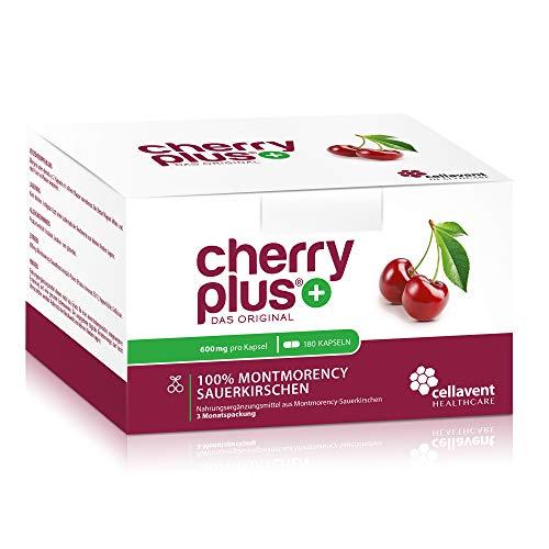 Cherry PLUS Kapseln aus der Montmorency-Sauerkirsche (600mg) – 50:1 Konzentration – 180 Kapseln – GMP und IFS – vegan