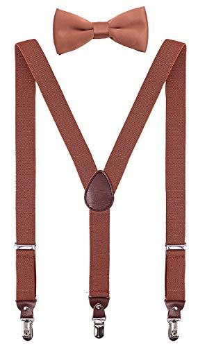 PZLE Herren Jungen Hosenträger und Fliege Set Verstellbar Y Rücken - Braun - 119 cm (Erwachsene)