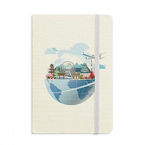 DIYthinker Reisen Reise Japan Fuji Sakura Flugzeug Notebook Stoff Hard Cover Klassisches Journal Tagebuch A5 A5 (144 X 210mm) Mehrfarbig