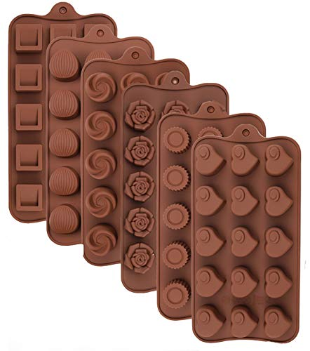 Leslady Silikon Schokoladenform, 6 Stück Silikonform Bonbonform Süßigkeiten Formen Backformen Pralinenform für Backen Schokolade Süßigkeiten Eiswürfel