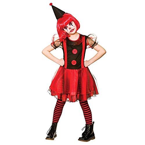 Girls Freaky Clown Halloween Fancy Dress Costume