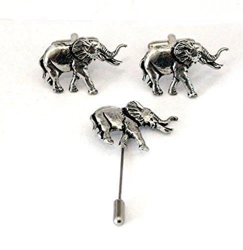 Hoardersworld Elephant Boutons de Manchette et Revers de bâton d'essieu, en Étain Anglais, Coffret Cadeau, AB