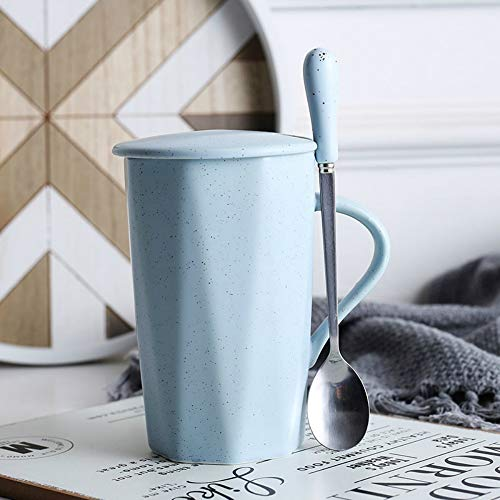 MSNLY Nordic ins Frühstück Tasse Keramik frische kreative Tasse personalisierte Trendbecher mit Deckel Löffel einfache Wasser Tasse weibliche Kaffeetasse verwenden nach Hause, Büro Keramik Tasse