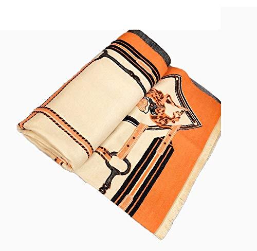 N / A - Bufanda para mujer, diseño de caballero de cachemira, para mujer con estampado de caballero de cachemira, color salvaje, bufanda cálida para otoño e invierno