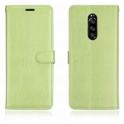 Laybomo Handyhülle für Sony Xperia 1 Hülle Ledertasche Weiches Gummi Silikon TPU Haut Beutel Schützend Stehen Bilderrahmen Brieftasche Schale Tasche Schuzhülle für Sony Xperia 1 / XZ4 (Grün)