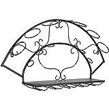Botellero para 7 Botellas de Vino, Portabotellas de Pie de Hierro Metalicos Apilable Práctico, Adecuado para Decoración del Hogar y Almacenamiento en Cocina Bares Bodegas - Negro M+ / Black / 86