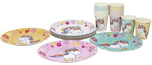 com-four Juego de Vajilla para Fiesta Unicorn de 56 Piezas con Motivos de Unicornio para 24 Personas, Platos de Papel y Vasos de Papel para Niños (56 Piezas Amarillo / Rosa / Turquesa / Blanco)