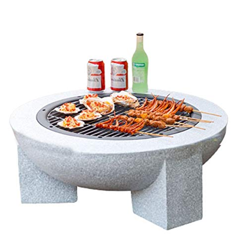Large Fire Pit Outdoor Garden Patio, Fire Pit with BBQ Grill Shelf Barbecue Brazier Heater Grill Camping Bowl BBQ with Poker Grate Grill