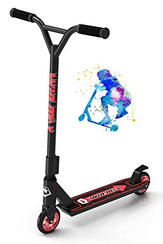 WIN.MAX Pro Scooter, 110mm Stunt Scooter for Kids Ages 7-14, Complete Trick Scooter for Teens Adults BMX Freestyle Tricks, Aluminum Core Wheels & Upgraded Fork Perfect for Beginner to Intermediate
