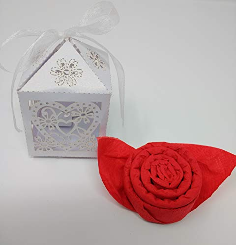 Servietten - Rosen + Geschenkboxen 20 tlg. zur Hochzeit, Kommunion, Taufe als Geschenk und zu allen besonderen Anlässen