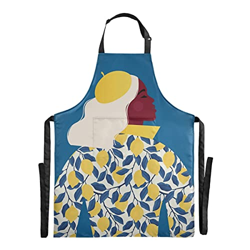 Delantal para niña, diseño de árbol de limón, impermeable, divertido delantal para hornear, tienda de flores, jardín, hogar con correas ajustables, bolsillo grande para mujeres y hombres