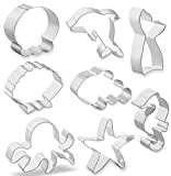 Metal Ocean Creature Mermaid Cookie Cutters Mermaid Whale Tail, Dolphin, Octopus, Jellyfish, Clownfish, Seahorse, Starfish and Seashell Sea Animal Shape Biscuit Fondant Cutters 8 PCS