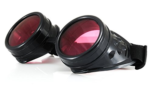 SIZE - Universal Adult goggle black with extra UV 400 lenses and sticker orginal only from 4sold with 4sold logo A steampunk costume is not complete without some high quality goggles l UV 400 Protection Unisex or ideal for welding plus dark protectiv...