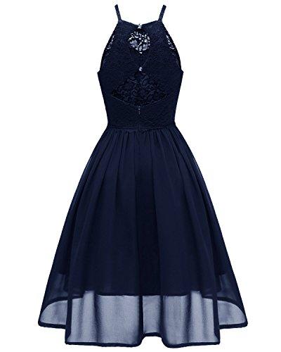 Misshow Abschlusskleid Damen Kurz Spitze Ärmellos Partykleid Rockabilly Swing Kleid