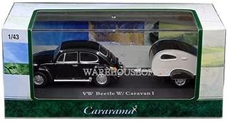 CARARAMA 1:43 VOLKSWAGEN BEETLE WITH CARAVAN I IN ACRYLIC CASE