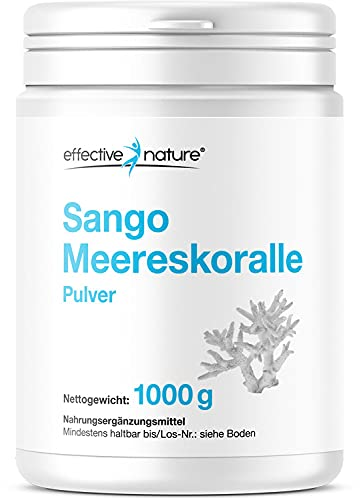 effective nature Sango Meereskoralle - Calcium und Magnesium im optimalen Verhältnis 2:1 - hochdosiert, vegan und hohe Bioverfügbarkeit - Nahrungsergänzung für Knochen und Säure-Base-Haushalt - 1000 g Pulver