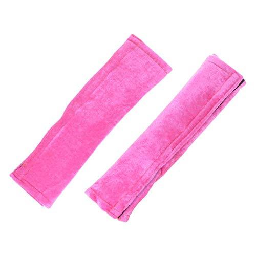 2er Set Gurtpolster Auto mit Klettverschluss | Gurtschoner Sicherheitsgurt Polster | Gurtschutz Velour Autogurtpolster (Pink)