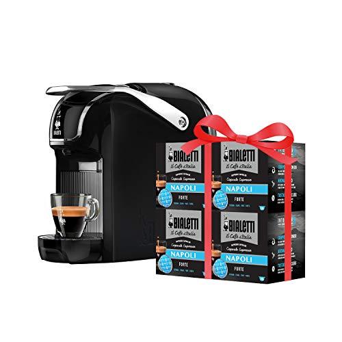 Bialetti Break - Macchina Caffè Espresso a Capsule in Alluminio con Sistema Bialetti il Caffè d'Italia, Design compatto, Nero, Include 64 Capsule In Omaggio
