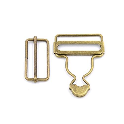 4 Sets Lätzchen Hose Hosenträger insgesamt Schnallen Anpassung Rechteck Schiebeschnalle Metall Button, bronze, 38 mm