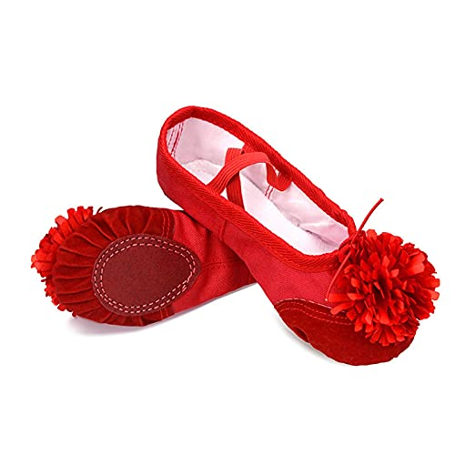 ZBYD Zapatos de Baile de Ballet Rosa Chicas niños niños niños Ballet Zapatillas de Cuero splace Suave Suela de Yoga Gimnasia Zapatos de Baile con Flor 509 (Color : Red Red Flower, Shoe Size : 32)