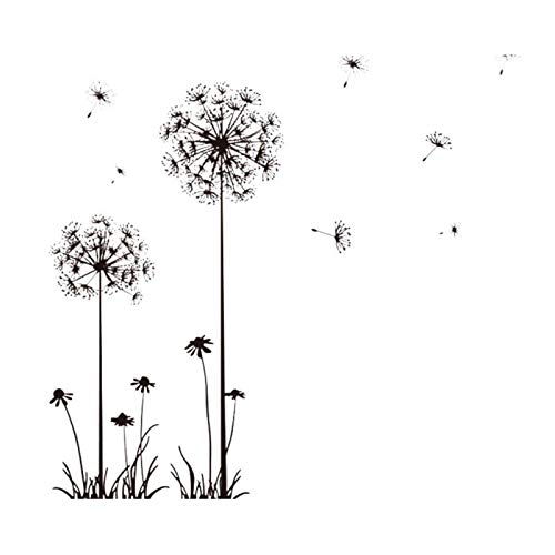 Froomer Black Creative PVC Dandelion Blume Pflanze Baum Große Abnehmbare Home Wandtattoo