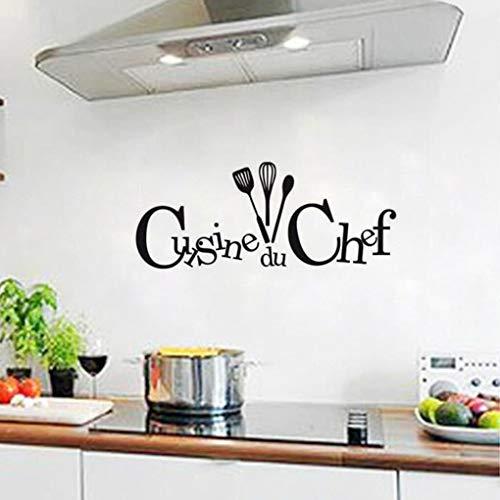 Pegatina de pared para cocinar, Chef, cocina, dibujo, restaurante, póster, calcomanía, papel tapiz, arte del hogar, pegatina de pared negra A2 57x137cm