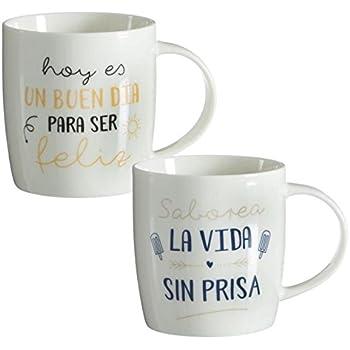TAZAS DESAYUNO ORIGINALES FRASES POSITIVAS (SET DE 2 MUG) : Amazon.es: Hogar