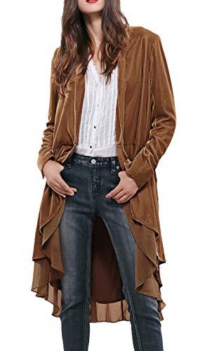 R.Vivimos Womens Ruffled Asymmetric Long Velvet Blazers Coat Casual Jackets (Small, Brown)