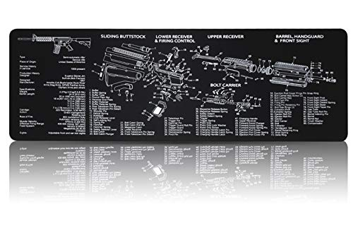 Gun Cleaning Mat Gaming Mouse Pad (36.2 by 12.2 inchs)-Non Slip and Solvent Resistant-with Parts Diagram
