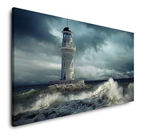 Paul Sinus Art Leuchtturm im Meer 120x 60cm Panorama Leinwand Bild XXL Format Wandbilder Wohnzimmer Wohnung Deko Kunstdrucke