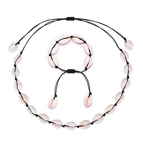 Tpocean - Collar gargantilla y pulsera con conchas de puka, 2 piezas, tejida a mano, estilo hawaiano, tropical Negro