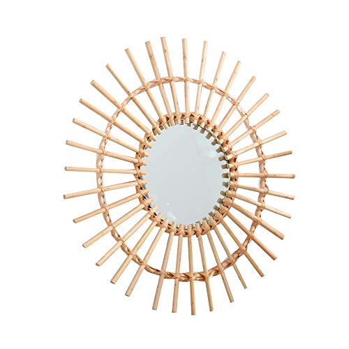 WBFN Decoratieve spiegels, Rattan Dressing Gifts Portable Wall Opknoping Bathroom Mirror Space Saving Compact Interieur Ronde Art Deco Clear Woonkamer van het Huis (Color : B)